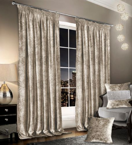 Stylish Crushed Velvet Modern Textured Pencil Pleat Tape Top Pair Of Curtains Natural Colour